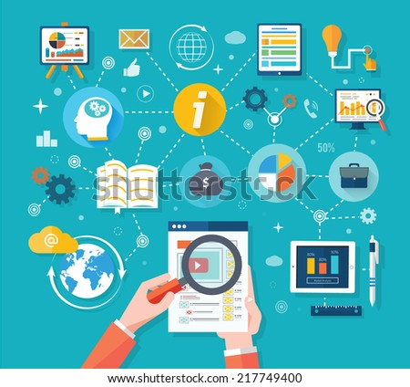 Web site analytics charts on screen of PC. SEO Search Engine Optimization programming business up trend statistics flat design style. Link between information system strategy and business strategy - stock vector