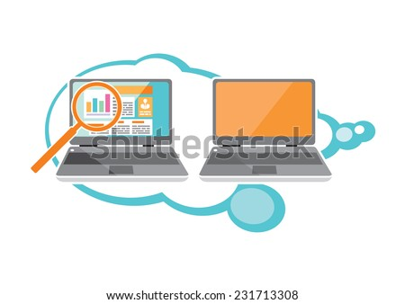 Web site analytics charts on screen of PC. SEO Search Engine Optimization programming business up trend statistics infographics diagram in flat design style - stock vector