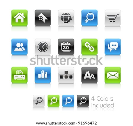 Web Site Buttons  / The file Includes 4 color versions in different layers. - stock vector