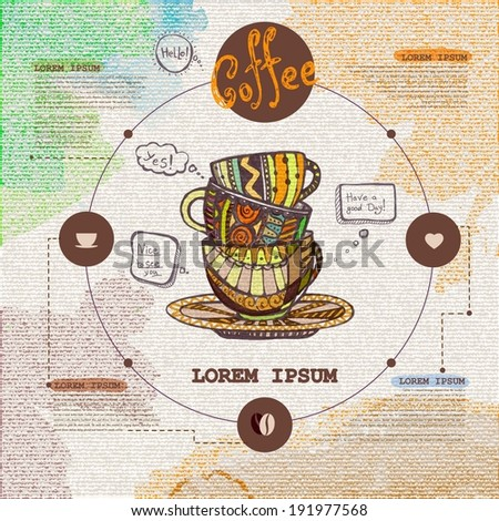 Web site design. Decorative cup of coffee - stock vector