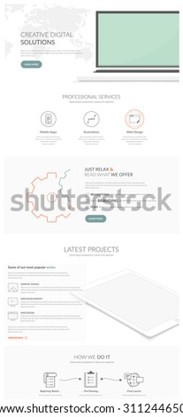 Web site design navigation elements: Complete website model template with icons - stock vector