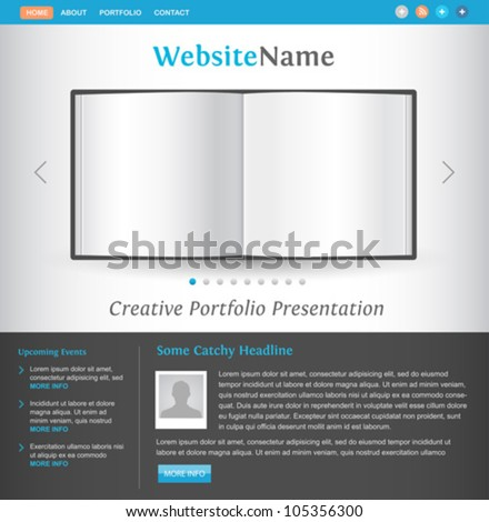 web site design template - book pages view - creative layout for portfolio showcase - easy editable vector - stock vector