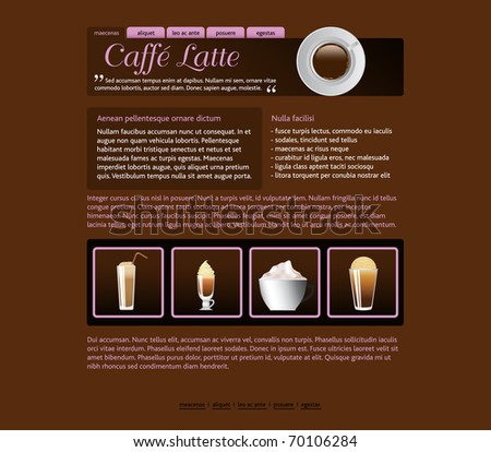 web site design template, coffee house theme - stock vector