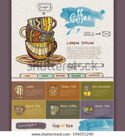 web site design template. Decorative cup of coffee - stock vector