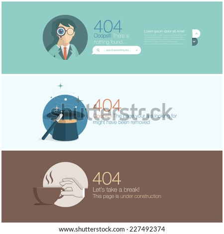 Web site design template elements: Page not found, 404 error. - stock vector