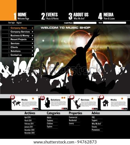 Web site design template, vector - stock vector