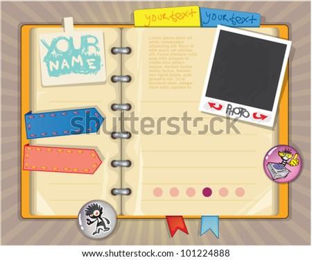 web site design template. vector notebook - stock vector