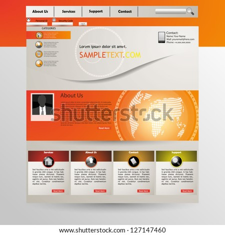 Web site design template, with dot pattern earth globe, vector - stock vector