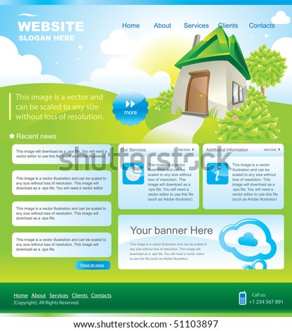 Web site design template with house on meadow - stock vector