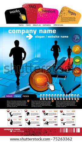 Web site design template with sport subject. - stock vector