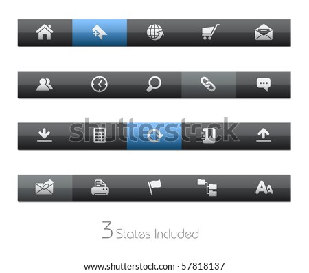 Web Site & Internet // Blackbar Series +++ It includes 3 buttons states in different layers. +++ - stock vector