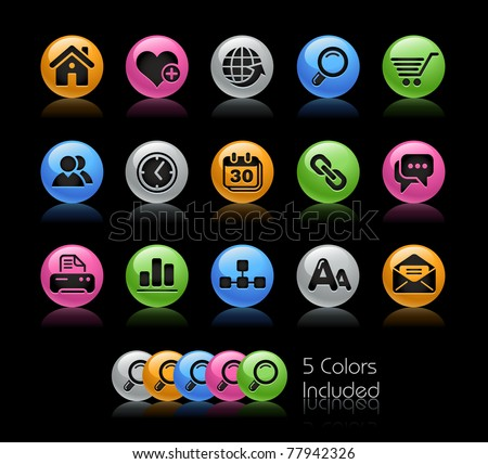 Web Site & Internet Icons // Gelcolor Series -------It includes 5 color versions for each icon in different layers --------- - stock vector