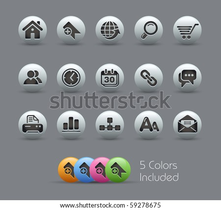 Web Site & Internet Icons// Pearly Series -------It includes 5 color versions for each icon in different layers --------- - stock vector