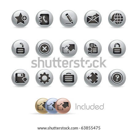 Web Site & Internet Plus // Metal Round Series --- It includes 4 color versions for each icon in different layers--- - stock vector