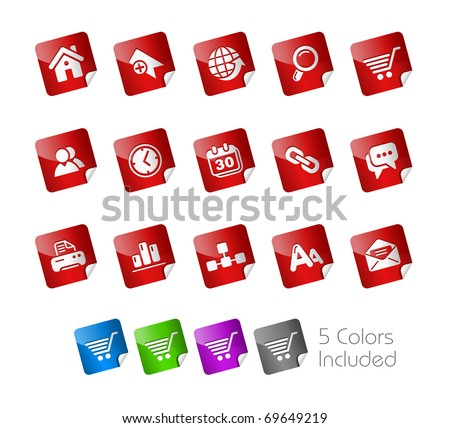 Web Site & Internet // Stickers Series -------It includes 5 color versions for each icon in different layers --------- - stock vector