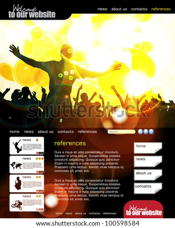 Youth website templates stock images royalty free images web site layout with music event subject pronofoot35fo Gallery