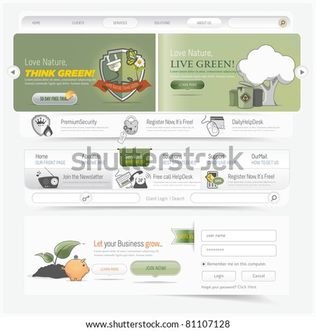 Web site navigation menu pack with icons set - stock vector
