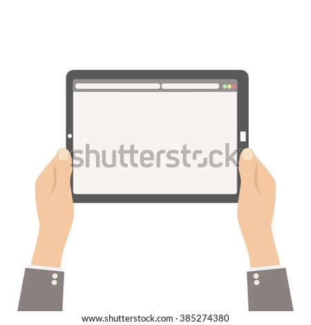 web site on tablet screen in human hands