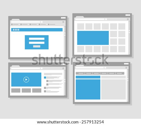 web site page templates collection. Flat design - stock vector