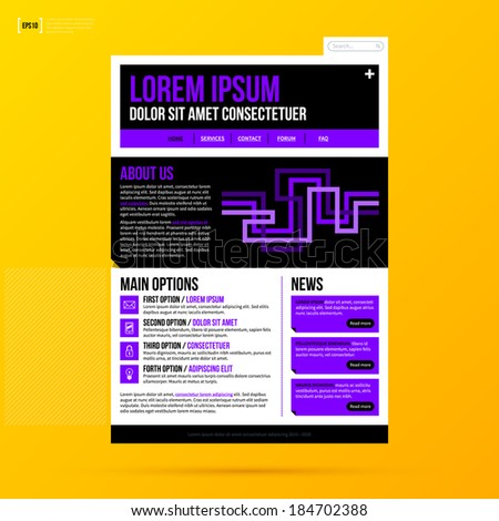 Web site template on bright yellow background. EPS10 - stock vector