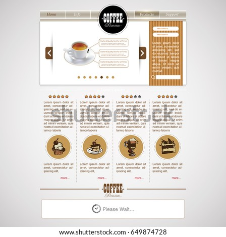 Web site template with cup of coffee and desserts. Design menu for cafe, shops and restaurants.
