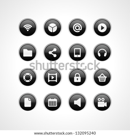 Web site vector buttons and icons set - stock vector