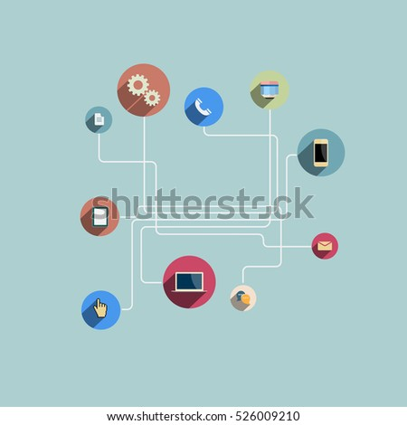 Web social network communication icons with long shadows. Design template. Flat style vector Illustration