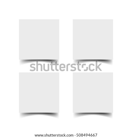 Web square banners with shadow set isolated on white background. White paper cards template. Realistic vector mock up
