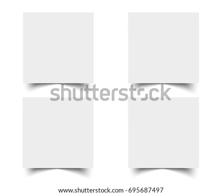 Web square banners with shadow set.  White paper cards