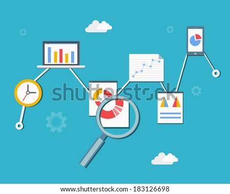 Web statistics and analytics infographics diagram vector illustration in flat style - stock vector