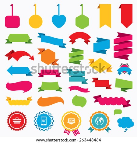 Web stickers, tags and banners. Online shopping icons. Smartphone, shopping cart, buy now arrow and internet signs. WWW globe symbol. Speech bubbles and award labels. Vector - stock vector