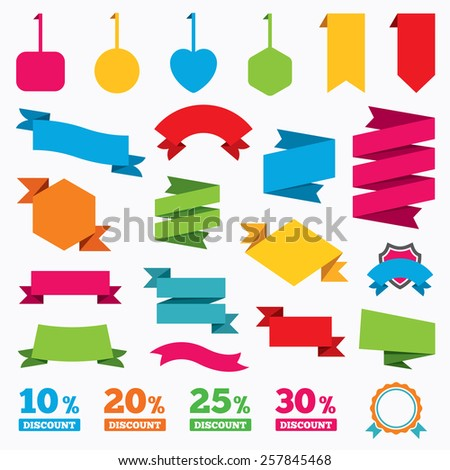 Web stickers, tags and banners. Sale discount icons. Special offer price signs. 10, 20, 25 and 30 percent off reduction symbols. Template modern labels. Vector - stock vector