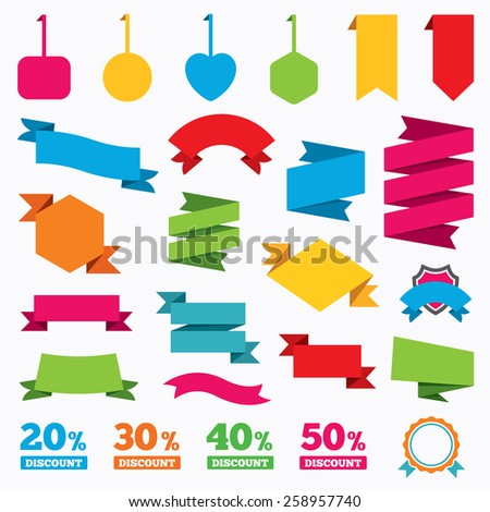 Web stickers, tags and banners. Sale discount icons. Special offer price signs. 20, 30, 40 and 50 percent off reduction symbols. Template modern labels. Vector - stock vector