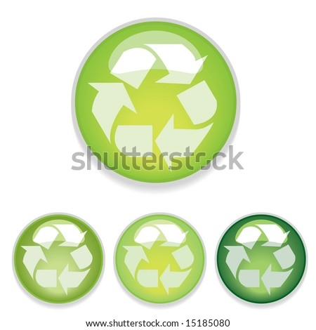 Web 2.0 style shiny glass buttons with recycling symbol