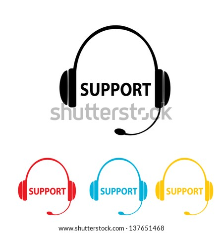 web support icon set on white background. vector web assistant button for website. vector headphones tag or label - stock vector
