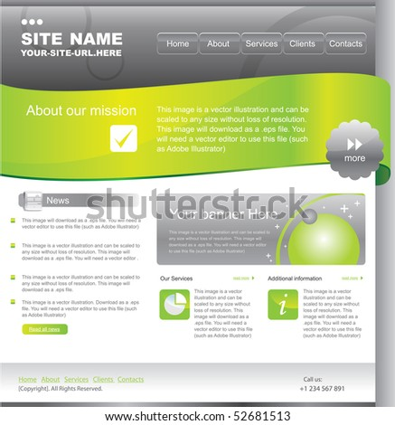 web template design with ribbon element - stock vector