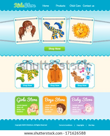 Web template for baby shop - stock vector