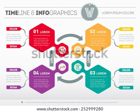 Web Template for circle diagram or presentation. Business concept with 4 options. Vector infographic of technology process. - stock vector
