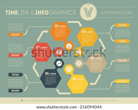 Web Template for circle diagram or presentation. Business concept with six options. Vector infographic of technology process. Part of the report in vintage colors. - stock vector