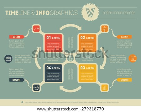Web Template for circle diagram or presentation. Business infographics concept with 4 options. Vector info graphic of technology process with icons. - stock vector