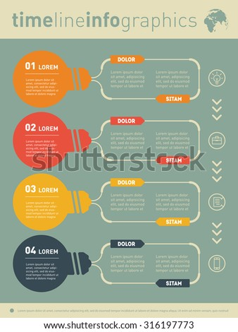 Web Template for diagram or presentation with stylized lamps. Business concept with four options. Vector infographic of technology or education process. Part of the report