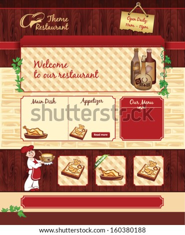 Web template for retro restaurant or cafe - stock vector
