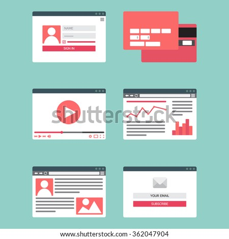 Web Template for site forms of email subscribe, login to account, watching video, online shopping, blog and infographics. Vector - stock vector
