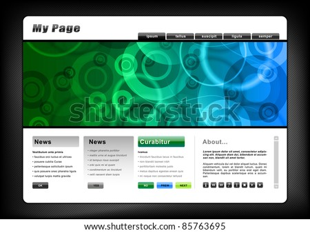 web template in the blue and green color - stock vector