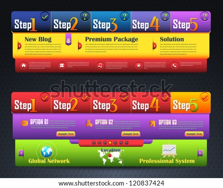 Web Template Step Process Vector Design - stock vector