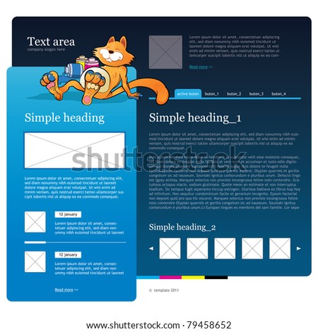 web template with cartoon character. cmyk concept - stock vector
