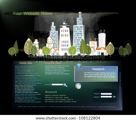 web template with city street - stock vector