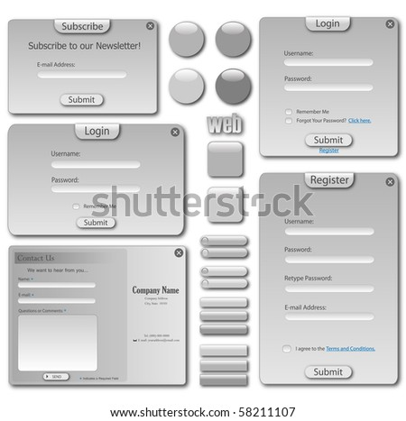 Web template with forms, bars and buttons. - stock vector