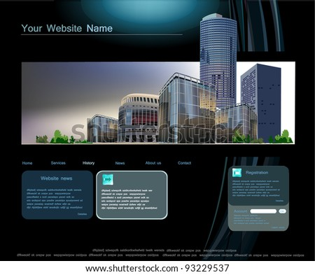 web template with modern business center - stock vector