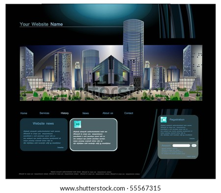 web template with modern business square view - stock vector